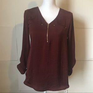 Apt 9 blouse women's XS maroon